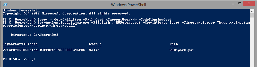 Signing of a PowerShell script